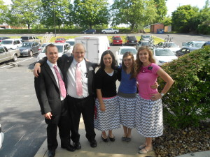 at transfer meeting. L-R Elder Gubler, Payne, me, Sister Adamson and Sister Collett - all the Webster Groves Missionaries :)