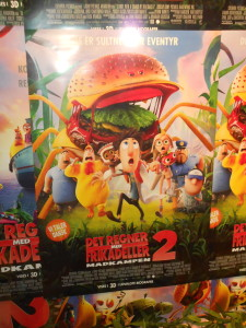 It's cloudy with a chance of meatballs. That's the movie, but the direct translation of what it says is It rains with meatballs. HA! SO different! And frikadler are way different than meatballs anyways....