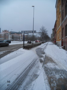 Ok, these two pictures are of the same street, a little different areas, but the same street. Ha. It's officially winter.