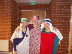 this is from the Påskearrangement thing. I have no idea what that is in english. I'm not even totally sure what it is in danish. But basically it was about Easter and we all dressed up like we were from Jesus's time and walked through the last few days of His life. It was kinda cool! And the girl in the middle is Kristina :D Shes way cute :)